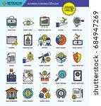 modern retro thin line icons... | Shutterstock .eps vector #684947269