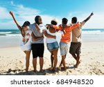 group of cheering young adults... | Shutterstock . vector #684948520