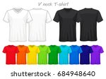 set of templates colored v neck ... | Shutterstock .eps vector #684948640