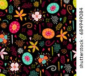 seamless floral pattern with... | Shutterstock .eps vector #684949084