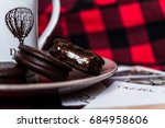 two chocolate biscuits with... | Shutterstock . vector #684958606