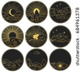 collection of decorative... | Shutterstock .eps vector #684961378