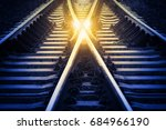 railway track change or choices ... | Shutterstock . vector #684966190