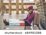 lost woman traveller making... | Shutterstock . vector #684981088