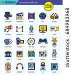 modern retro thin line icons... | Shutterstock .eps vector #684983968