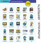 modern retro thin line icons... | Shutterstock .eps vector #684983974