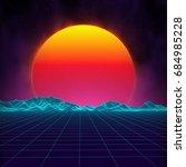 retro background futuristic... | Shutterstock .eps vector #684985228