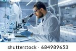 in a modern laboratory research ...   Shutterstock . vector #684989653