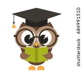 cute brown owl with book | Shutterstock .eps vector #684991510