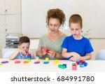teacher woman learn two... | Shutterstock . vector #684991780