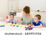 teacher woman learn two... | Shutterstock . vector #684991936