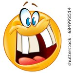 emoticon with crazy smile... | Shutterstock .eps vector #684993514