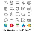 mobile devices line icons. set... | Shutterstock .eps vector #684994609