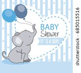 Stock vector baby shower boy elephant with balloons 685015516