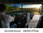 the truck driver on the road... | Shutterstock . vector #685015966