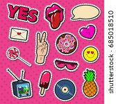 fashion stickers and badges... | Shutterstock .eps vector #685018510