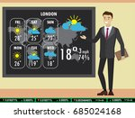 man on tv tells a weather... | Shutterstock .eps vector #685024168