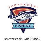 modern summer fishing logo... | Shutterstock .eps vector #685028560