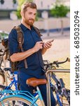 a man with smartphone near... | Shutterstock . vector #685032094
