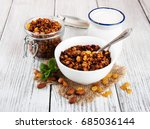 homemade granola with nuts ... | Shutterstock . vector #685036144