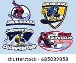 set of snowboard badges design | Shutterstock .eps vector #685039858