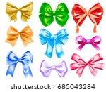 various color watercolor ribbon ... | Shutterstock . vector #685043284