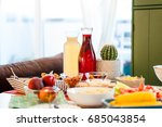 healthy dinner party at home ... | Shutterstock . vector #685043854