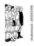cartoon caricature of football... | Shutterstock .eps vector #685045498