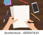flat vector illustration of man'... | Shutterstock .eps vector #685047610