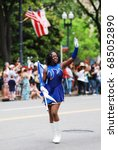 Small photo of Memorial Day Parade,Washington DC., USA. - MAY 25,2009, peoples on Memorial Day Parade, god bless America, America flag