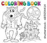 coloring book werewolf theme  ... | Shutterstock .eps vector #685054414