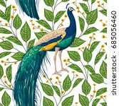 seamless pattern with peacock ... | Shutterstock .eps vector #685056460