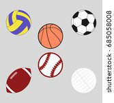 sports balls set for soccer ... | Shutterstock .eps vector #685058008