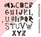creative hand drawn alphabet...   Shutterstock .eps vector #685064938