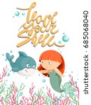 cute cartoon little mermaid ... | Shutterstock .eps vector #685068040
