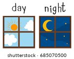 opposite wordcard for day and... | Shutterstock .eps vector #685070500