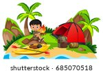 little boy camping out on... | Shutterstock .eps vector #685070518