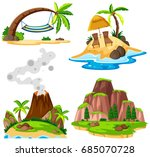 four scenes of island and beach ... | Shutterstock .eps vector #685070728