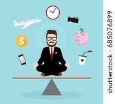 hipster businessman meditating... | Shutterstock .eps vector #685076899