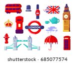 london icons set. england. thin ...