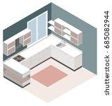 isometric kitchen. vector...   Shutterstock .eps vector #685082944
