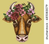 cow portrait with floral wreath.... | Shutterstock .eps vector #685083079