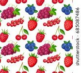 seamless pattern with berries... | Shutterstock .eps vector #685087486