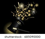 golden stars in black magic hat | Shutterstock .eps vector #685090000