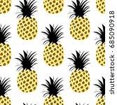 cute pineapples background.... | Shutterstock .eps vector #685090918