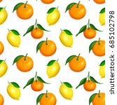 seamless pattern with citrus... | Shutterstock .eps vector #685102798