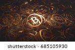 bitcoin gold coins 3d... | Shutterstock . vector #685105930