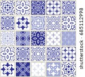 veector navy blue tiles pattern ... | Shutterstock .eps vector #685112998