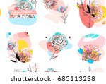 hand made vector abstract... | Shutterstock .eps vector #685113238