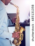 a man play with saxophone | Shutterstock . vector #685131358